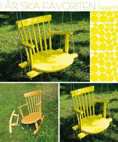 no trees here... maybe porch swing      Yard Art Ideas | gardening & yard art ideas / How to turn an old chair into a swing.                                                                                                                                                      More
