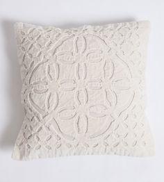 Applique Velvet Pillow White 26x26 $37