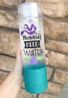 Mermaids Need Water Glitter Water Bottle / Mermaid Cup / Mermaid Tumbler / Glitter Tumbler / Beach C Glitter Water Bottles, Cute Water Bottles, Glitter Cups, Glitter Party, White Glitter, Diy Tumblers, Acrylic Tumblers, Custom Tumblers, Plastic Tumblers