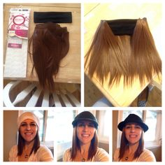 DIY hair headband to wear with hats after chemo.  Purchase hair extensions and sew onto cotton headband. Total cost $15.00. Super easy and inexpensive and is much more comfortable and cooler than a full wig.