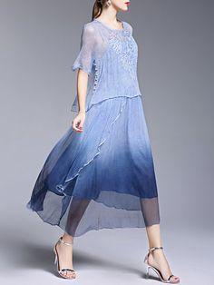 Blue Two Piece Embroidered Half Sleeve Crew Neck Midi Dress