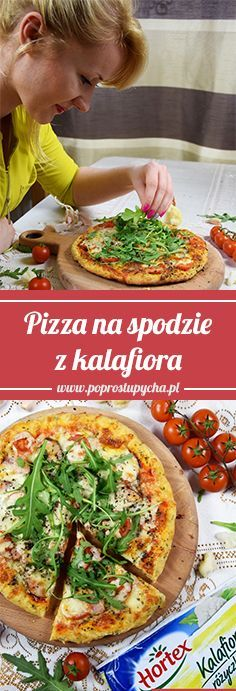 Pizza on the bottom with cauliflower! ♥ It is very simple to do, and at the same time … Flatbread Pizza, Tasty, Yummy Food, Pizza Dough, Quiche, Cauliflower, Vegan Recipes, Food And Drink, Snacks