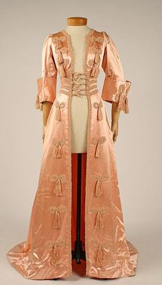 """""""Of all my current characters, Primrose (in the Custard Protocol series) is the most likely to have blush gowns in her wardrobe. Thus here is a glimpse into that very wardrobe."""" Negligée 1908 The Metropolitan Museum of Art"""