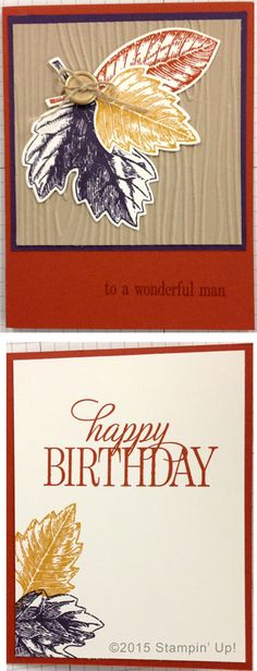 Stampin' Up! Cards - Vintage Leaves and Happy Birthday, Everyone stamp sets, Leaflets Framelits Dies and Woodgrain Embossing Folder