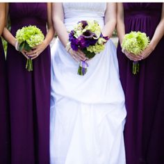 purple for you and green and white for the wedding party!