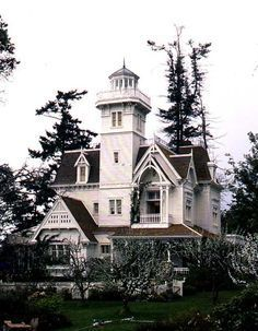 "The white Victorian house built for the film Practical Magic. The story takes place in New England, but the house was built on an island in Washington State. It took them 8 months to build this ""architectural shell"" that was later destroyed after filming was over. #victorianarchitecture"