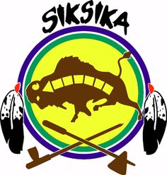 Official shield of the Siksika (Blackfoot) tribe, located at Cluny, Alberta, Canada. A tribal member of the Blackfoot Confederacy.
