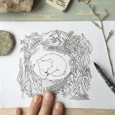 Making another birth announcement, this time for a girl. #geboortekaartje #ana #kaartje #slapen #holletje #geboorte #nesting #babygirl #bear #beertje #botanical #geboortekaart #announcement #anjamulder #origineelgeboortekaartje #aankondiging #beer #nature #ink #illustration #sleepingbear #custommade www.anjamulder.com
