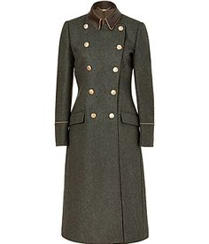 Ferragamo Charcoal Doublebreasted Wool Loden Coat with Leather Trim  $2693