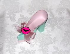 Turquoise and PInk Lips Platform High Heel 3D by apreciousmemory