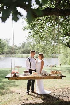 Wedding Designs 42 Awesome Hanging Side Table with Rope Design Inspirations Ikea Wedding, Indoor Wedding, Wedding Chairs, Picnic Table Wedding, Buffet Table Wedding, Sweet Table Wedding, Picnic Tables, Dessert Tables, Wedding Scene