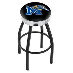 "Memphis Tigers 25"" Black Wrinkle Swivel Bar Stool with Chrome Ribbing - $149.00"