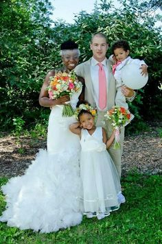 Beautiful Inter-cultural couple on their wedding day, along with their adorable children #love #wmbw #bwwm