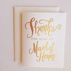 Noubliez pas de remercier ces filles spéciales qui sont debout pour vous lors de votre mariage ! feuille dor typographie de 4,25 x 5,5 imprimer sur