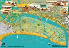 Mapa-guía del Parque Metropolitano Marismas de Los Toruños y Pinar de La Algaida. Puerto de Santa María,. Cádiz. Spain