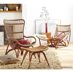 Inspired by European designs, our curvaceous Lar's chair, ottoman and chaise are made from durable bent rattan, to last for many years to come. Unlike bamboo, rattan is solid and durable yet ve Cane Furniture, Bamboo Furniture, Furniture Decor, Furniture Design, Outdoor Furniture, Adirondack Furniture, Furniture Movers, Accent Furniture, Adirondack Chairs