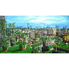 The hanging gardens of london, oil and aluminum on canvas, 120-80 cm, 2001