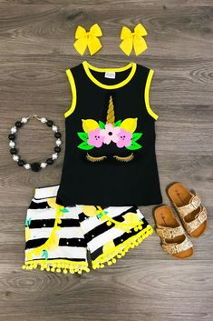 Be+the+star+of+the+show+in+this+pom+pom+short+set!+With+a+lemon+unicorn+on+the+front+of+the+tank+top+and+matching+pom+pom+shorts!+One+of+our+favs!+This+set+is+made+out+of+soft+cotton+and+spandex.+So+comfortable+for+everyday+wear+and+super+stylish.+Perfect+for+the+summer+and+back+to+school!+Grab+o...