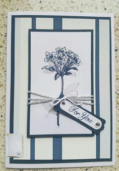 Card For You. Stampinup stampset Avant Garden. Wallpaper as DSP. Kaart van restje behang. Night of navy and Smoky slate.