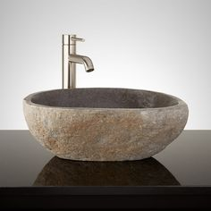 Baszler Dark Gray River Stone Vessel Sink