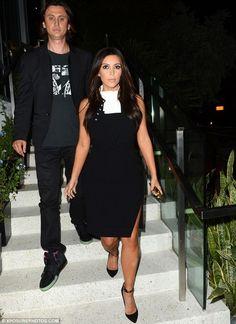 Kim Kardashian wearing Tom Ford Padlock Ankle Strap Pump Altuzarra Fall 2012 Luke Crepe Dress. Kim Kardashian Out in Miami December 13 2012.