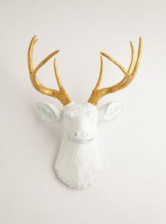 White W/ Gold Antlers Resin Deer Head