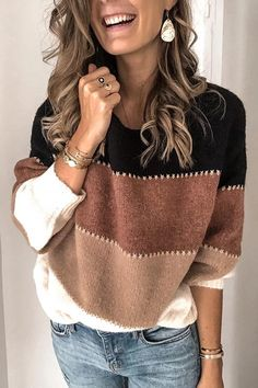 Fashion Patchwork O-neck Warm Knitted Sweaters – ebuytrends Fall Sweaters, Casual Sweaters, Pullover Sweaters, Sweaters For Women, Knitting Sweaters, Loose Sweater, Long Sleeve Sweater, Diy Laine, Pullover Mode