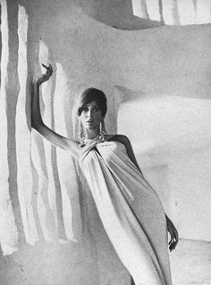 Henry Clarke    Model is wearing a dress by Miss Winston and photographed by Henry Clarke.  Vogue,January 1966.
