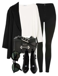 """""""Untitled #7108"""" by laurenmboot ❤ liked on Polyvore featuring Topshop, MANGO, Agnona, Prada, Alexander Wang and Ray-Ban"""