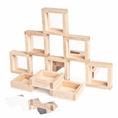 Set of 9 mirror blocks for $14.99: The mirror insert is removable so different materials could be added for a different effect - These blocks are on my wish list