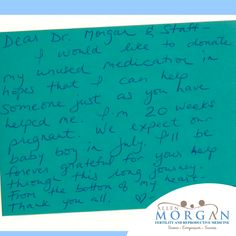 We LOVE getting notes like this one! Thank you for giving us all big smiles today! Share your pics and success stories to: Info@AllenMorganMD.com. Maybe it'll even end up on our website!  #trulythankful #MorganIVF