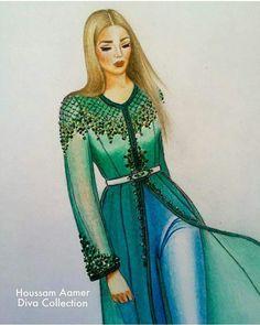 Dress Design Sketches, Fashion Design Drawings, Fashion Sketches, Paper Fashion, Fashion Art, Fashion Outfits, Fashion Illustration Dresses, Fashion Illustrations, Moroccan Caftan