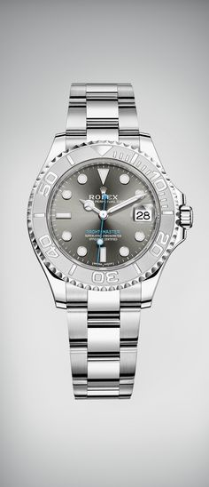 The Rolex Yacht-Master 37 in Rolesium, a combination of steel and platinum, with a dark rhodium, sunray finish dial.