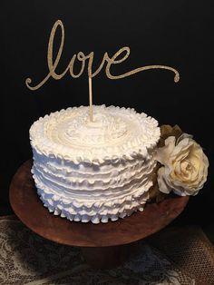 Love Wedding Cake Topper in Gold or Silver Glitter