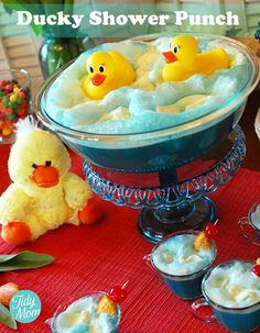Cute baby shower punch idea. Doesn't have to be ducks though. I'm sure there are little bathtub stars or moons or anything else that could be used.