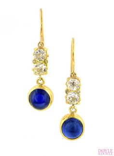 Youll never take them off! Sapphire and diamond earrings made from antique components, from Doyle & Doyle.