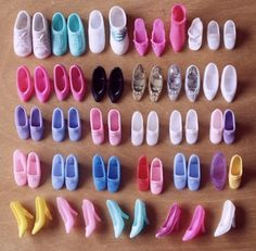 Barbie doll Shoes ..boy did I get scolded if I lost one of these shoes !!! Mom said, 'hey...we can't just go to the shoe store to replace those...take good care of them!'