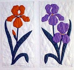 Bird and Flower Applique Patterns | Blue Birds 26 x 44 inches $12.00