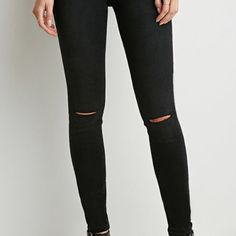 "AE black knee rip jeans American eagle black denim. Knees have small slit. High waisted. Super stretch. Size 00 short. I am 5'5"" and it fits like a perfect pair of cropped skinnies. American Eagle Outfitters Jeans Skinny"
