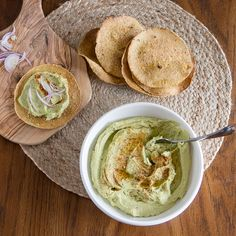 Fava Bean Hummus (Bissara). A rich and creamy spread made from savoury fava beans. Using frozen fava beans this app is easy and quick to make. Served with pitas or crispy flat bread.