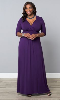 Maximize your wardrobe in our plus size Desert Rain Maxi Dress!  A gorgeous silhouette and flattering details in a royal purple make this a must-have.  Shop more made in the USA styles at www.kiyonna.com.  #KiyonnaPlusYou