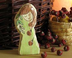 Wooden waldorf toy carved Rowan autumn nature table figurine