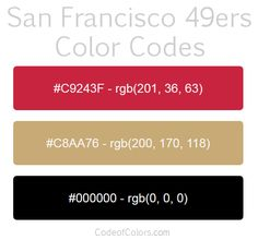 san francisco 49ers team color codes