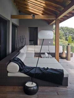 Really like this outdoor area. The wood....the stone flooring. Nice!