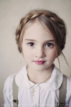 """Adorable little girl—love her bold, penetrating eyes • perfect creamy skin • rosy lips • braided hairstyle—a current day """"Heidi""""❣ simply divine creation"""