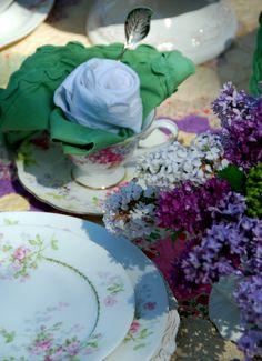 Rose folded napkins