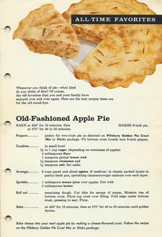 "Old Fashioned Apple Pie Vintage 1961 cookbook, Fabulous Pies from Pillsbury, was signed by fictional character Ann Pillsbury, has 23 recipes. Here is one for you to print using ""Print Opti. Retro Recipes, Old Recipes, Vintage Recipes, Baking Recipes, Snack Recipes, Dessert Recipes, Recipies, Kraft Recipes, Apple Pie Recipes"