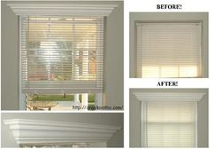 Add crown molding to the top of a window frame for a simple face lift that hides the blinds.