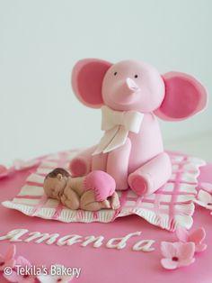 Fondant elephant and baby in blanket. www.tekila.fi