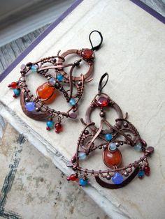 Copper  Moroccan Earrings - Wire Wrapped  Boho Earrings -   Eastern Filigree Earrings - Chandelier Blue and orange - Frida Kahlo inspired